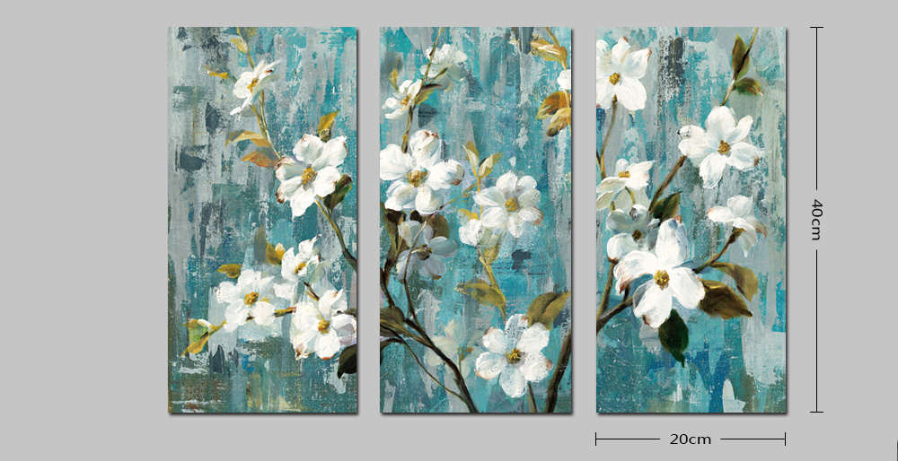 DYC Combination Painting Wall Art Picture for Home Decor White Flowers Canvas Print 3PCS