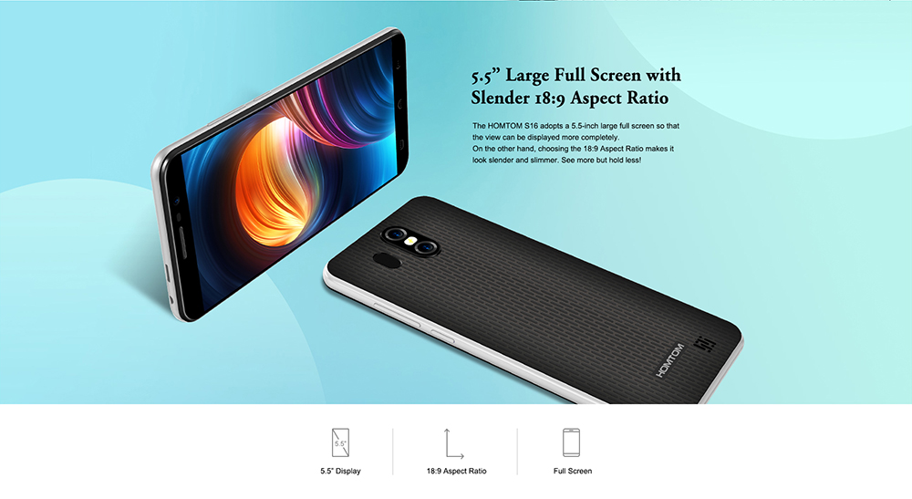 HOMTOM S16 3G Phablet 5.5 inch Android 7.0 MTK6580 1.3GHz Quad Core 2GB RAM 16GB ROM 13.0MP + 2.0MP Dual Rear Cameras Touch Sensor