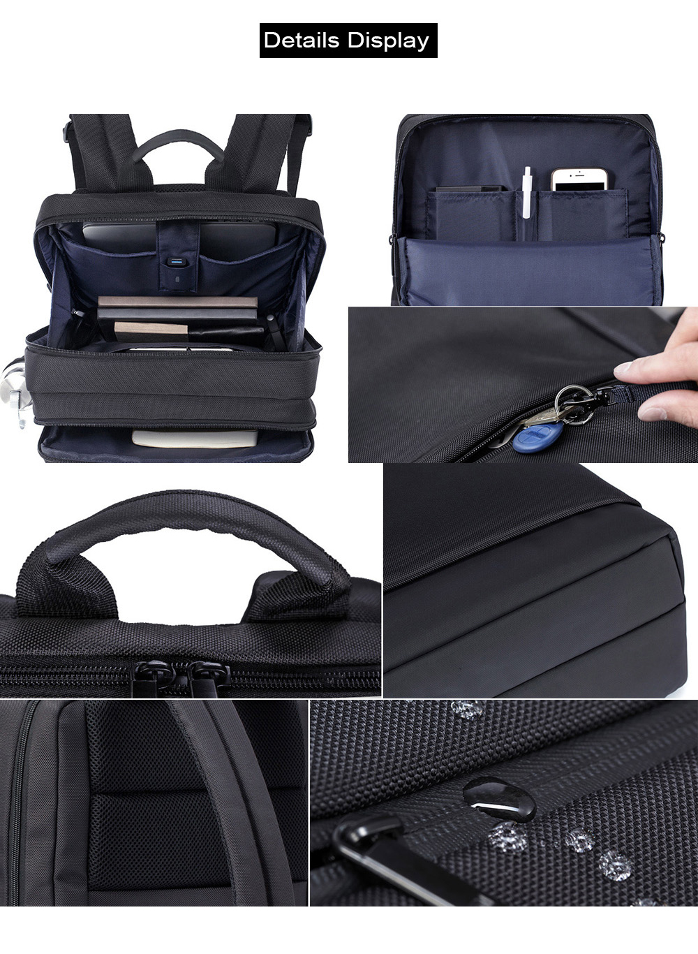 Xiaomi Black Classical Business Laptop Backpack for Men