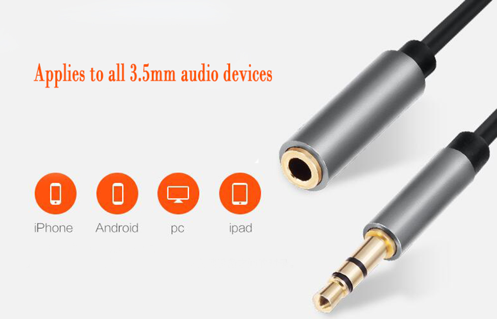 3.5MM Stereo Plug Male To Female AUX Extension Audio Cable