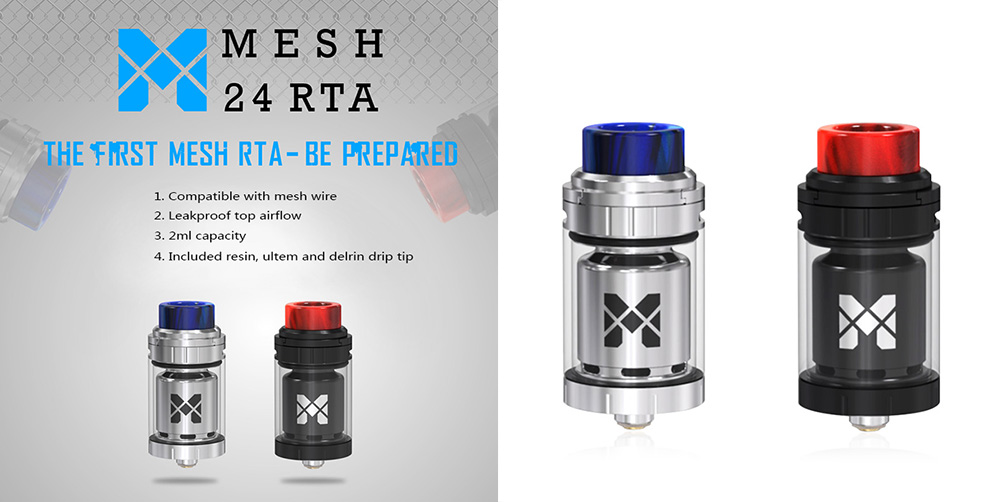 Original Vandy Vape Mesh 24 RTA with Top Airflow / Filling / Gold-plated 510 Pin for E Cigarette