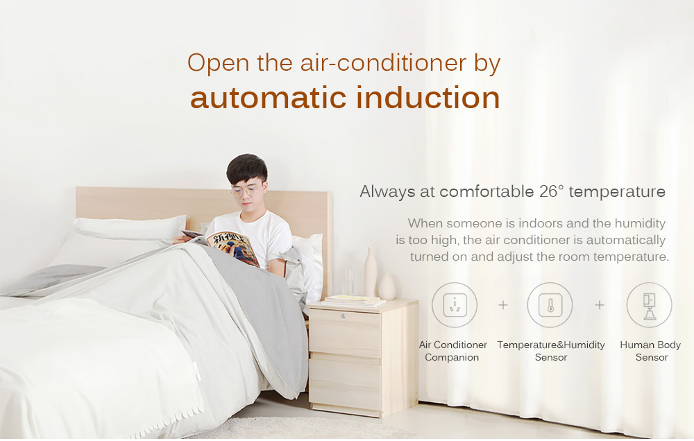 Xiaomi Aqara Air Conditioner Mate + Temperature and Humidity Sensor + Body Sensor + Wall Socket + Wall Switch + 2pcs Wireless Switch Smart Bedroom Kit