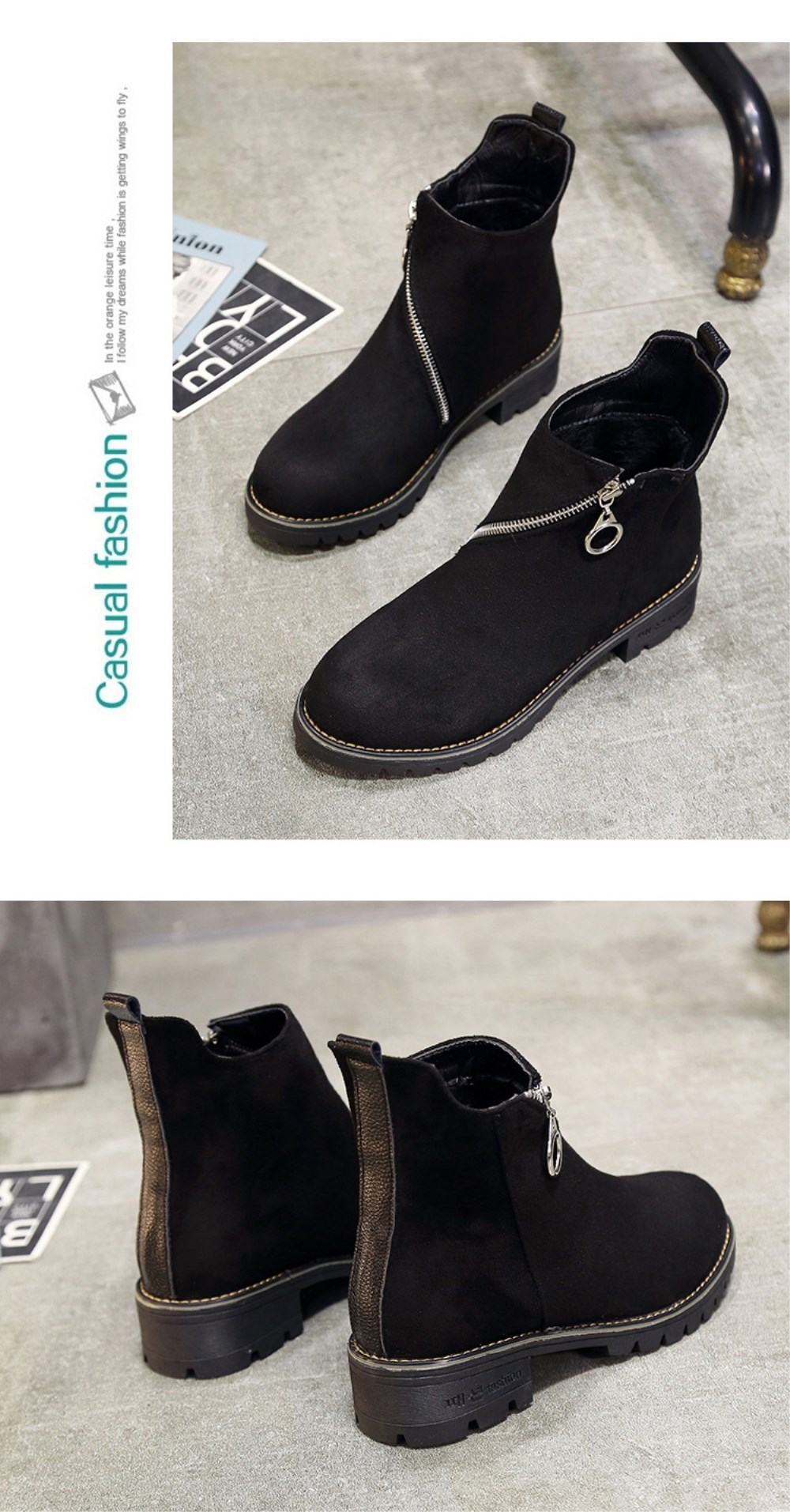 Autumn and Winter New Low-Heeled Boots