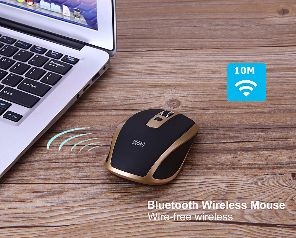 7a2192ec137 MODAO E41 Wireless Bluetooth 3.0 Mouse Ultra-thin Design - Black and Golden
