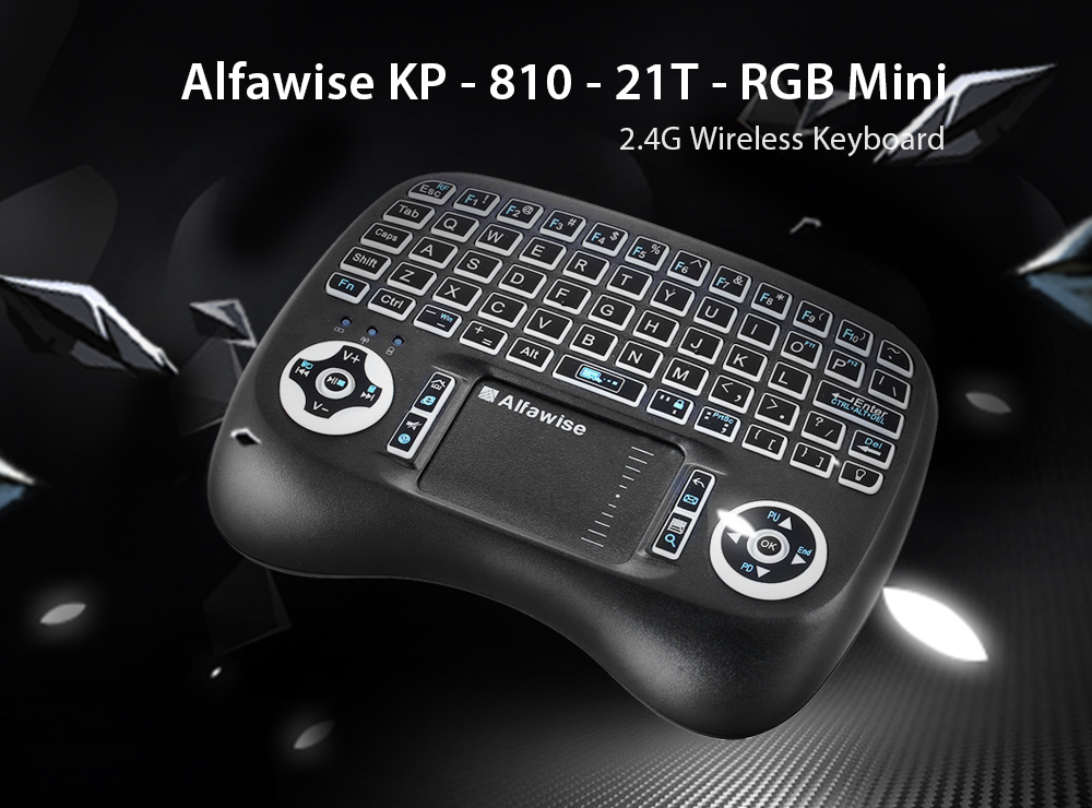 Alfawise KP - 810 - 21T - RGB 2.4G Wireless Keyboard with Touchpad Mouse