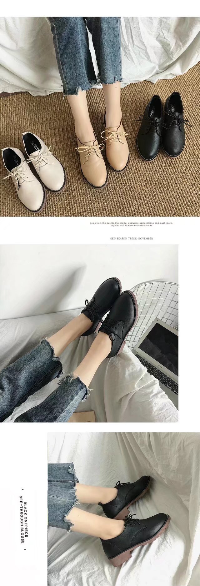YQ-WA85 Round All-Match Tie with Coarse Small Leather Shoes Casual Shoes