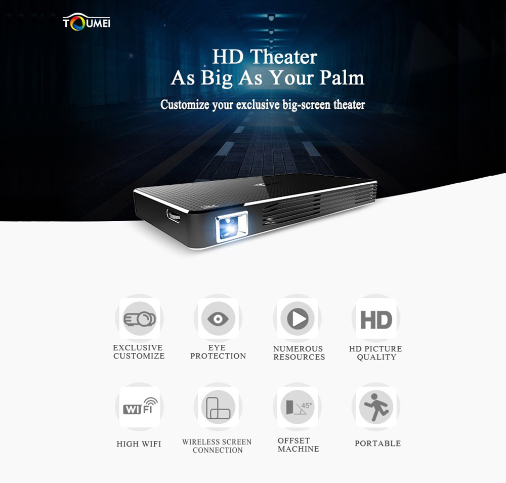 100 Ansi Lumens 854 x 480 Pixels Bande Double WiFi 2.4GHz / 5GHz Bluetooth 4.0 Support 1080P