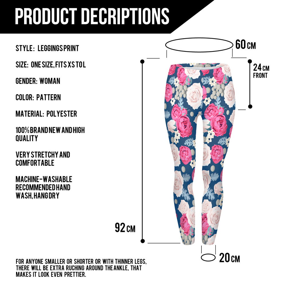 Women Fashion Casual Basic  Wild Roses Pink Flowers Printed  High Waist 95% Polyester 5% Spandex Fit Legging