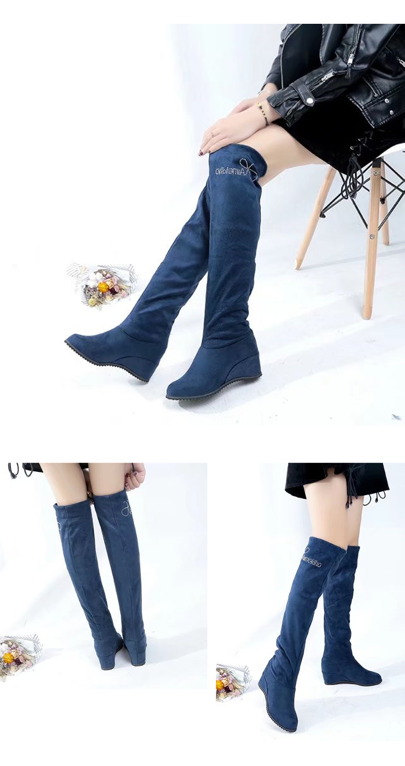 New Winter Chelsea Boots With Stovepipe Elastic Fashion Thigh Wedgie