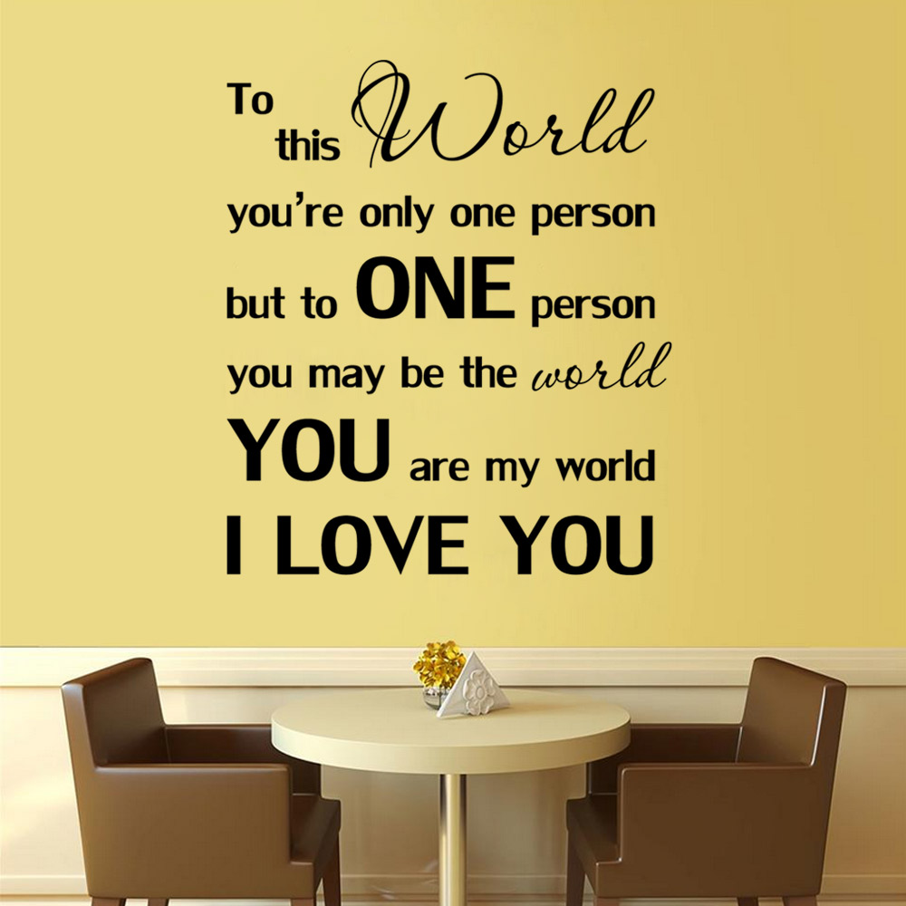 You are My World I Love You Wall Sticker - $4.48 Free Shipping ...