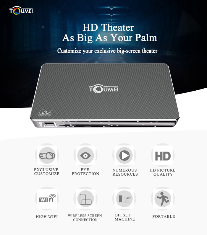 TOUMEI C800 DLP LED Projector Android 4.4 100 Ansi Lumens 854 x 480 Pixels 1080P Smart Media Player BT 4.0 WiFi Connectivity- Gray EU Plug