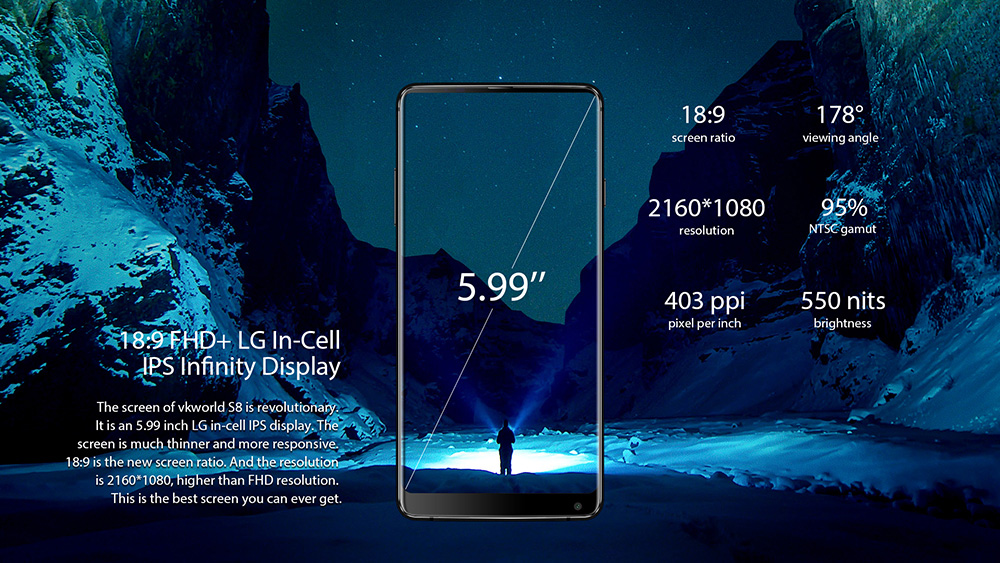 VKworld S8 4G Phablet 5.99 inch Android 7.0 MTK6750T Octa Core 4GB RAM 64GB ROM 16.0MP + 5.0MP Dual Rear Cameras Touch Sensor