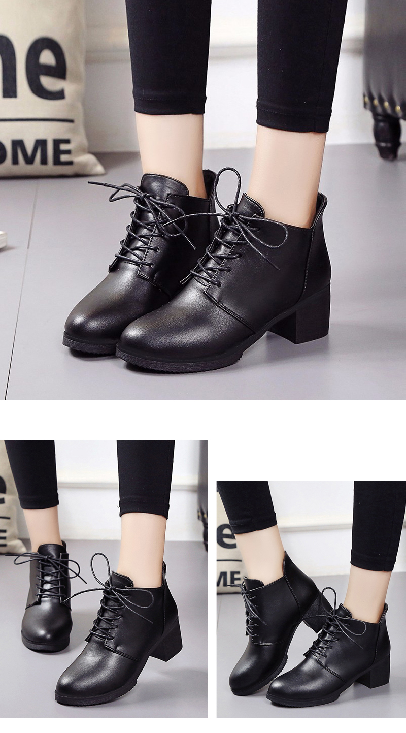 Autumn and Winter Women's Leather Shoes Round Head High Heels Martin British Wind Naked Rough Short Cylinder Boots