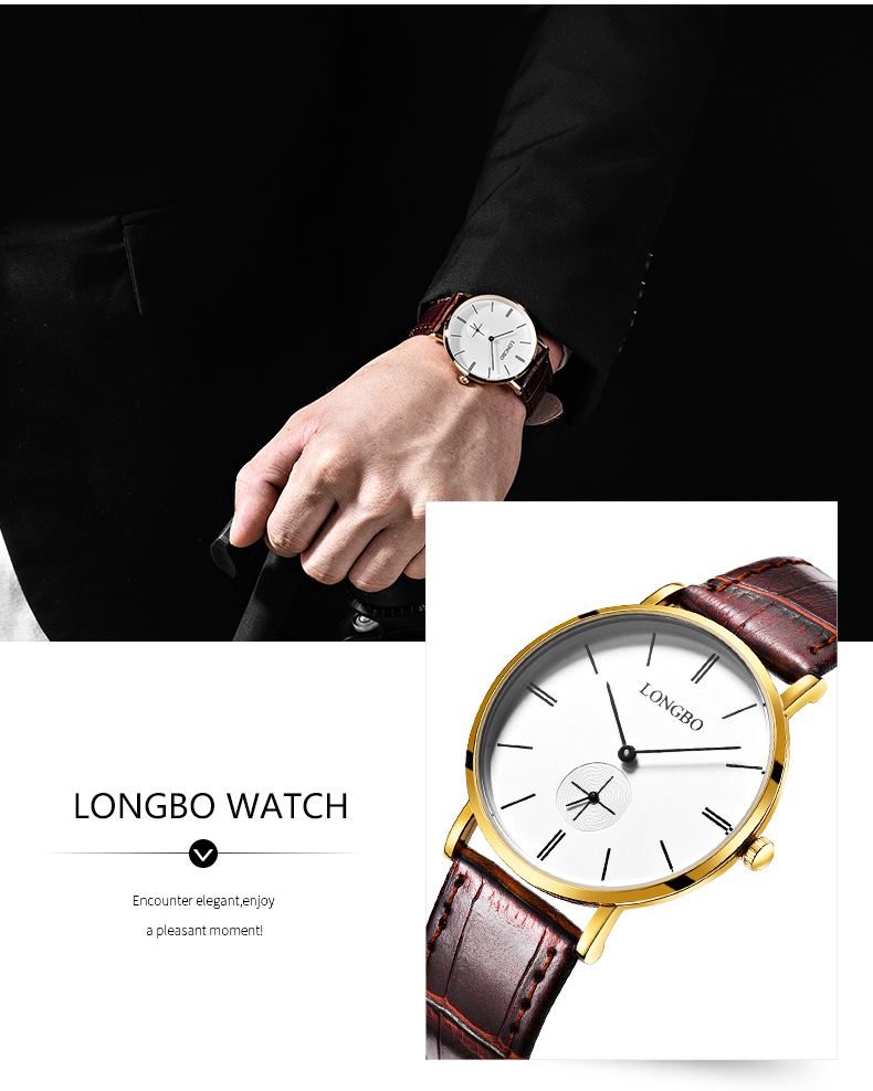Longbo 80320 Fashion PU Band Waterproof Couple Watch