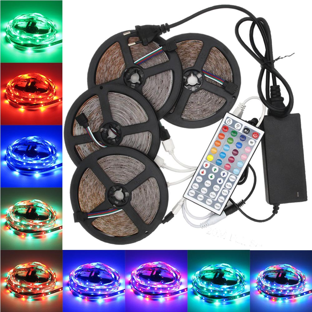 supli 20m wasserdichter rgb led lichtstreifen kit mit 1200leds 2835 44 taste ir fernbedienung 8a. Black Bedroom Furniture Sets. Home Design Ideas