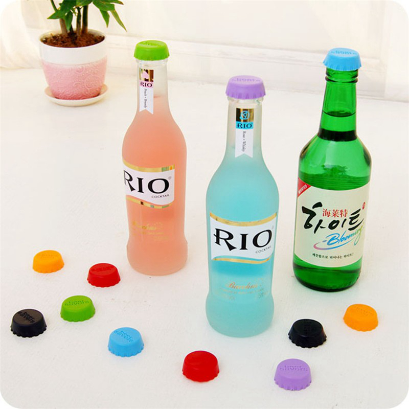 WS 3cm Beer Bottle Cap Silicone Colorful Wine Stoppers Leak Sealers 6PCS / Set - Colormix