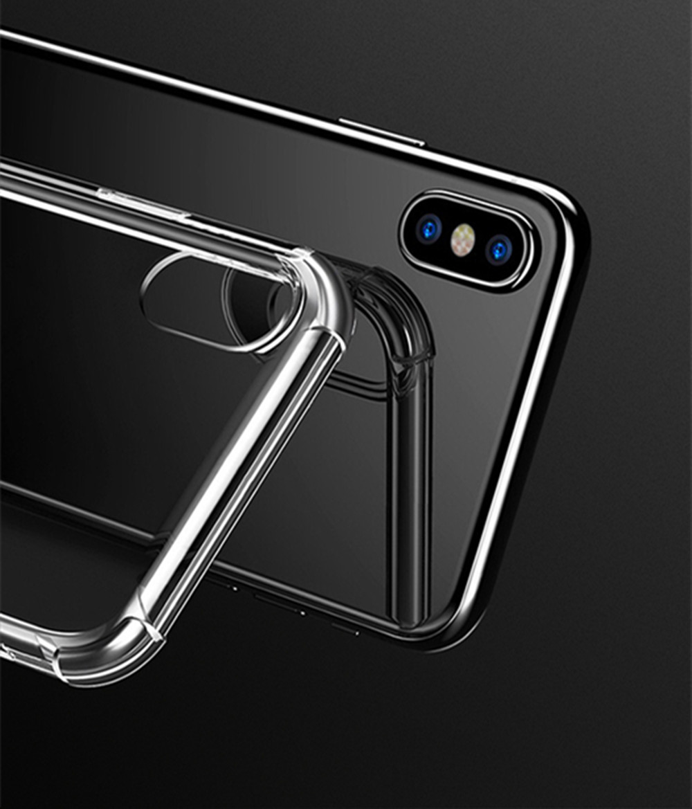 Extreme Heavy Duty Protective Soft Rubber TPU Bumper Case Anti-Scratch Shockproof Rugged Protection Clear Transparent Back Cover for iPhone X
