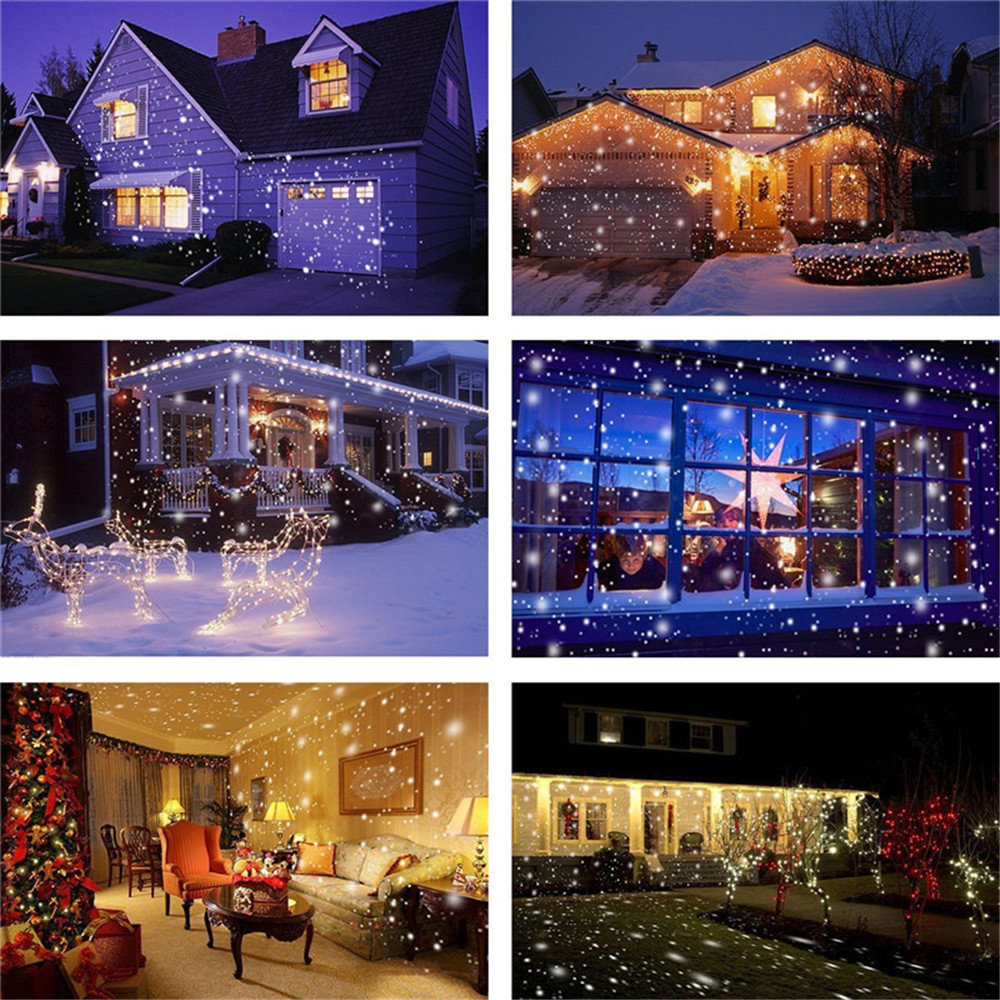 supli christmas led snowfall waterproof projector light with wireless remote controller for outdoor - Snowfall Christmas Lights