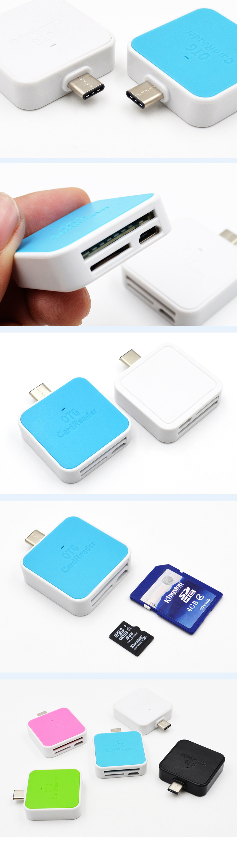 Usb-c Usb3.1 Type-c Two in one OTG Reader Adapter Support SD / TF / iOS for New Mac Book