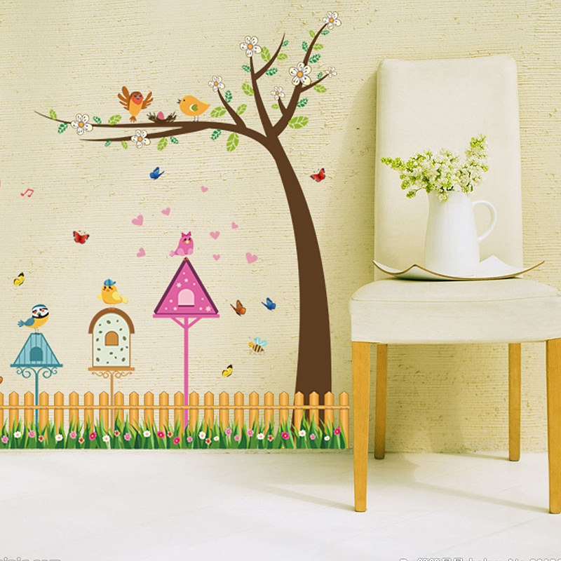 DSU Fence Bird And Tree Home Pattern Wall Sticker Kids Room Living Room  Decor Part 40