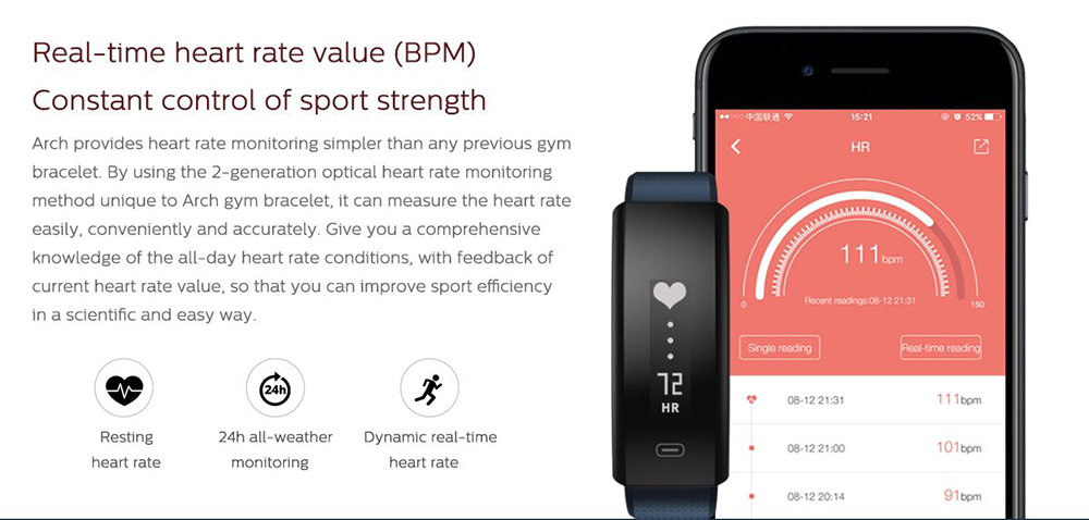 Zeblaze Arch Heart Rate Smartband IP67 Waterproof Fatigue Detection Pedometer Sleep Monitor Find Phone