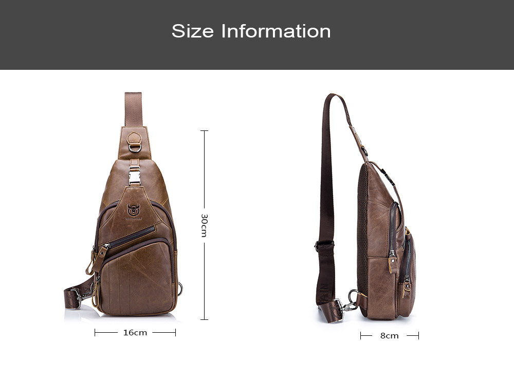 c81205a04f52 BULLCAPTAIN Casual Anti-theft Genuine Leather Chest Bag for Men - Brown