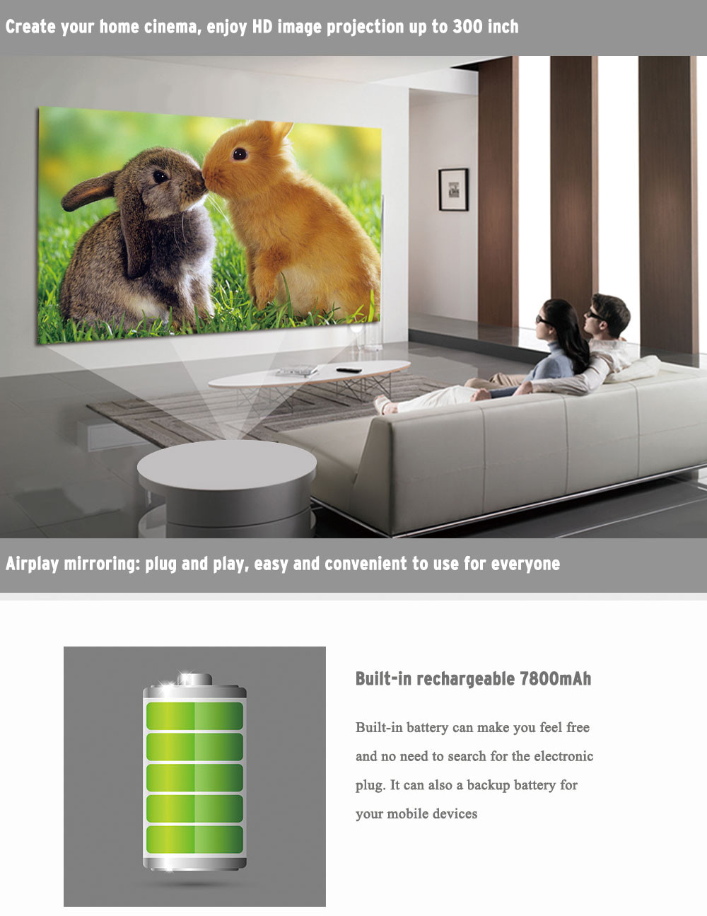 WOWOTO T8E 2000 Lumens Multimedia Home Theater Projector 7800mAh Battery Android 4.4 Support 1080P