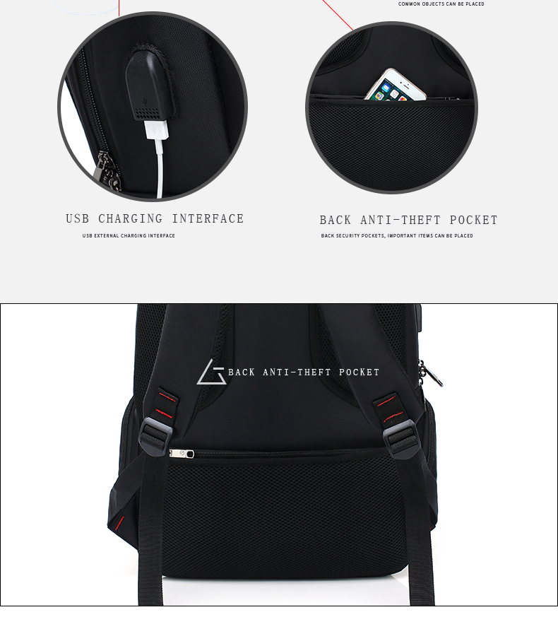 AUGUR Brand Backpacks USB Charging Laptop Men Teenagers Travel Large  Capacity Casual Fashion Style Back Bag 75a0ba8bc34ac