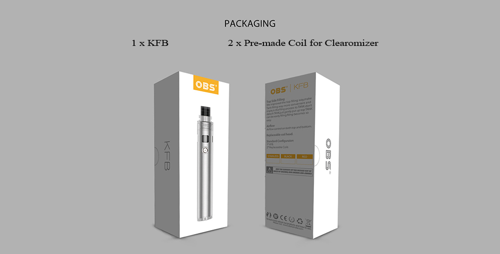 OBS KFB AIO Starter Kit with 2ml / Supporting 1pc 18650 Battery for E Cigarette- Black