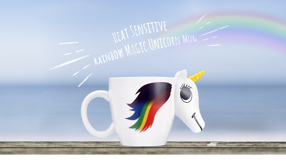COZZINE Magic Unicorn Pattern Ceramic Heat Sensitive Mug Rainbow Color Changing Coffee Cup
