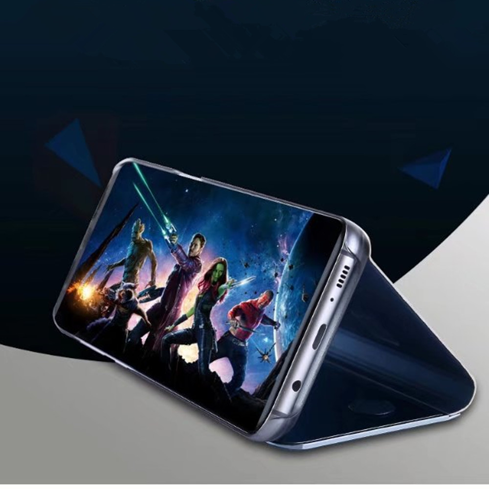 Case Cover for Samsung Galaxy S7 Edge with Stand Plating Mirror Flip Auto Sleep Wake Up Full Body Solid Color Hard PC
