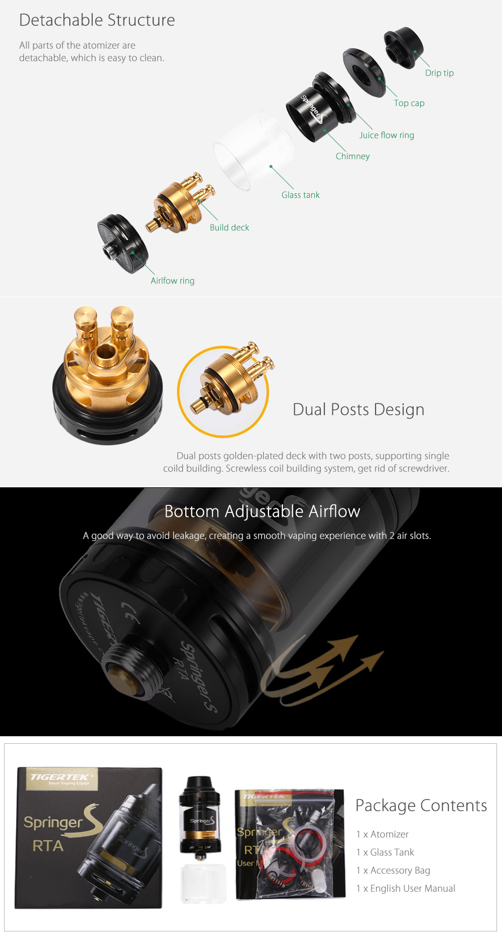 Tigertek Springer S RTA with 3.5ml / Bottom Adjustable Airflow / Golden-plated Deck for E Cigarette