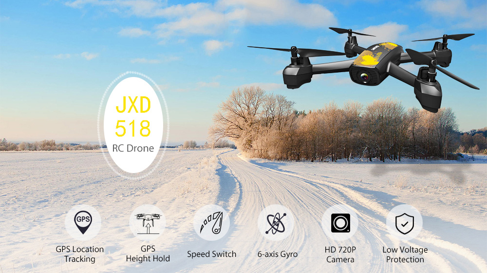 JXD 518 GPS Positionnement RC Drone RTF Full HD 720 P Caméra WiFi FPV / Altitude Hold / Headless Mode
