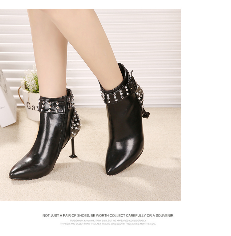 JB-907The New Autumn and Winter Fashion Sexy All-Match Rivet Point Stiletto Boots