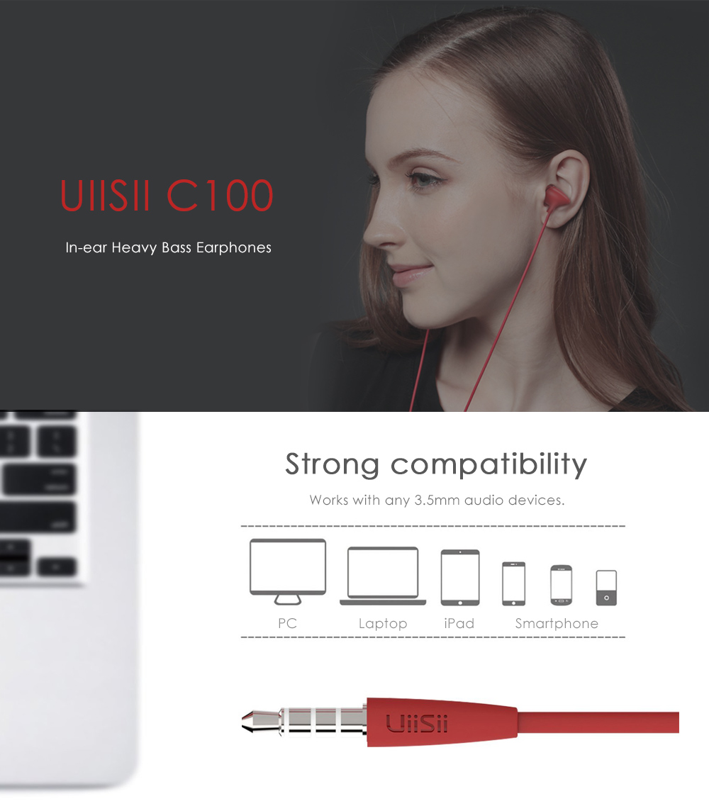 UIISII C100 In-ear Wired Heavy Bass Earphones with Mic- Black