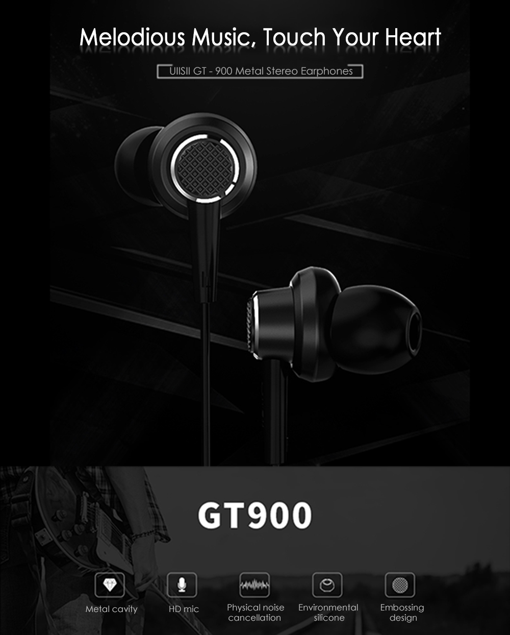 UIISII GT - 900 In-ear Wired Metal Stereo Earphones with Mic- Black