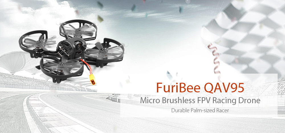 FuriBee QAV95 95mm Micro Brushless RC Racing Drone 5.8G FPV 700TVL HD / OMNIBUS F3 FC with OSD / 4-in-1 20A DShot ESC
