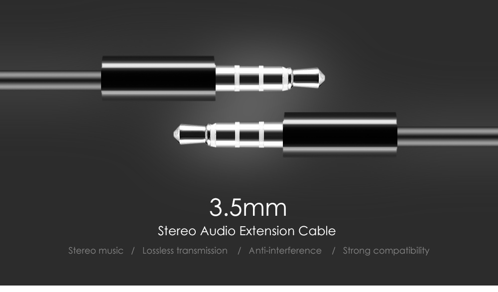 Compatible 1.02m 4 Sections 3.5mm Male to 3.5mm Male Audio Extension Cable