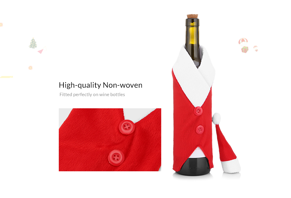 Yeduo Christmas Red Wine Bottle Bag Cover Bags Dinner Table Home Decoration- Red