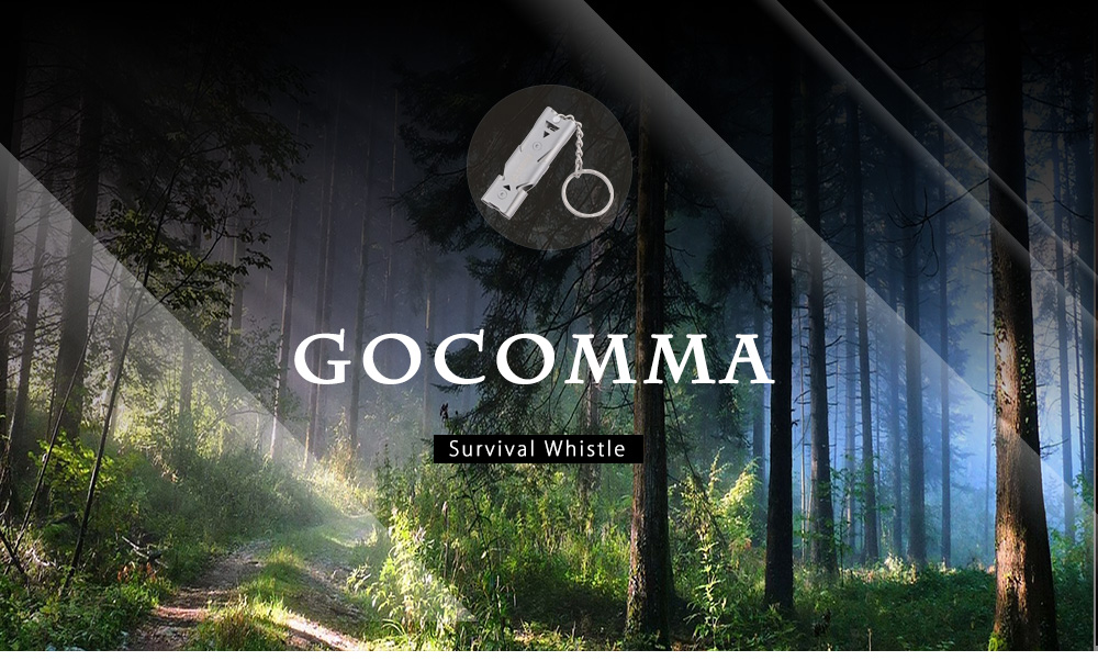 Gocomma Survival Whistle with Stainless Steel Body / Dual Channel / Key Ring