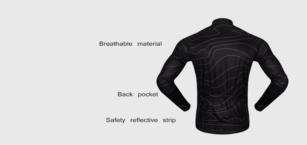 WOSAWE BC234 Cycling Jacket Elastic Breathable Long Sleeve Jersey Tops with  Back Pocket- Black S 7bb951d89