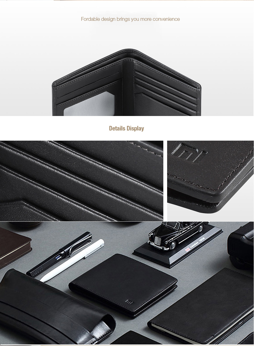 Xiaomi Men Portable Business Genuine Leather Bifold Wallet