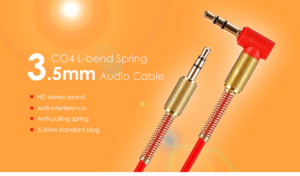 CO4 L-bend Spring 3.5mm to 3.5mm TPE Audio Cable 43cm