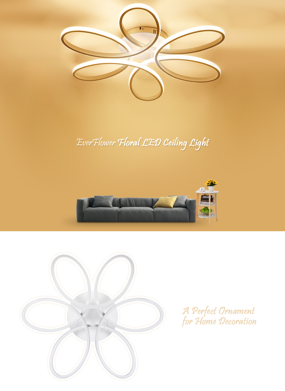 EverFlower Modern Simple Floral Shape LED Semi Flush Mount Ceiling Light With Max 75W Painted Finish- Warm White Light EU AC220-240