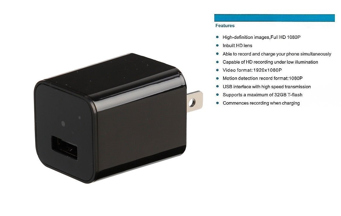 1080P Hidden Camera USB Wall Charger  Adapter Motion Detection 32gb sup