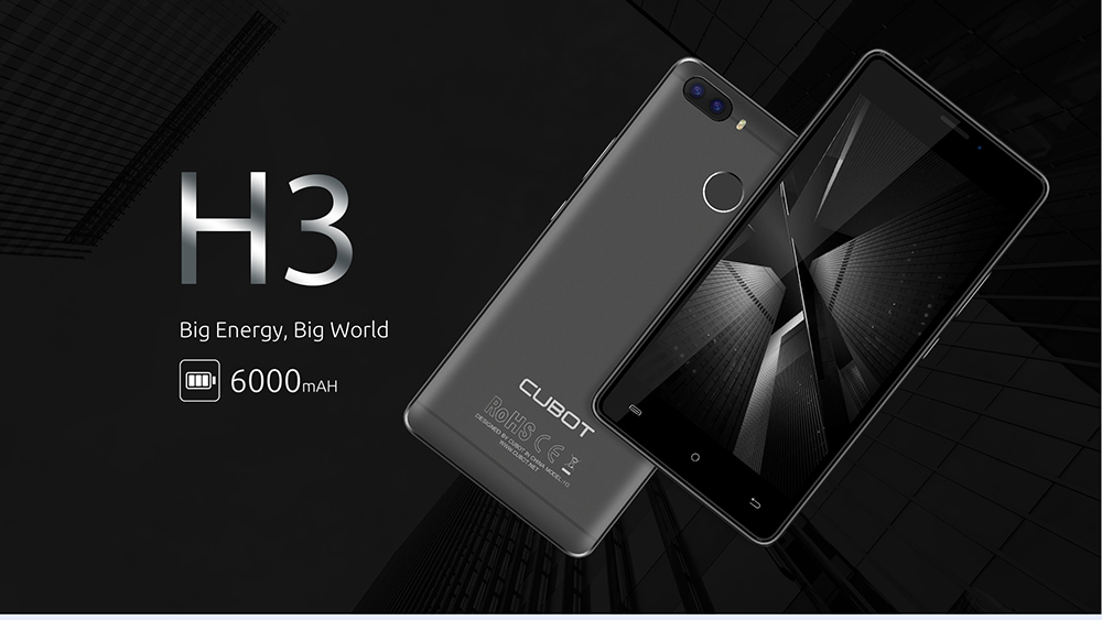 CUBOT H3 4G Smartphone 5.0 inch Android 7.0 MTK6737 1.3GHz Quad Core 3GB RAM 32GB ROM 6000mAh Battery 13.0MP + 0.3MP Rear Cameras Touch Sensor