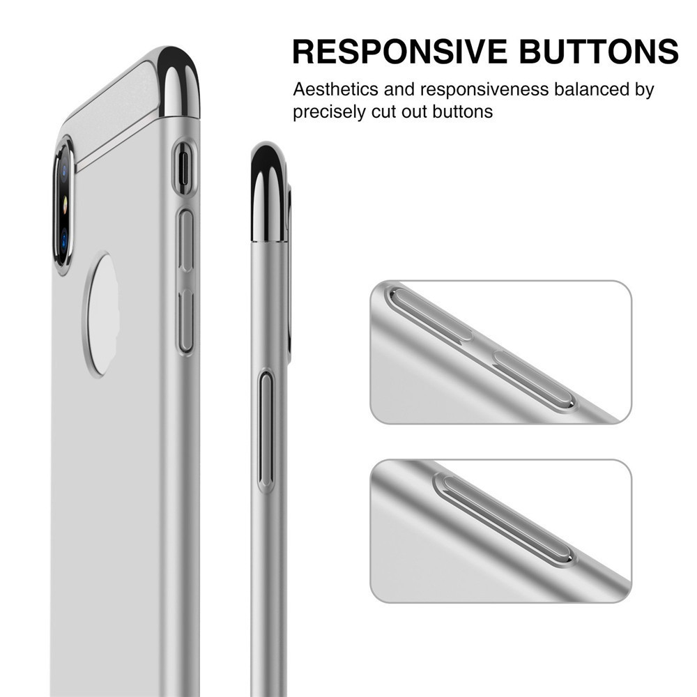5aebe8a9ef78 3 in 1 Thin Slim Hard Stylish Case Matte Surface with Electroplate Frame  for iPhone X