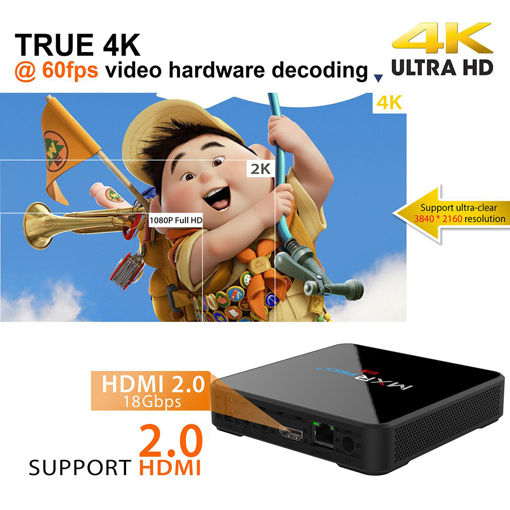 MXR PRO+ TV Box RK3328 Android 7.1 4GB RAM + 32GB ROM USB 3.0 2.4G + 5G WiFi 4K 60fps Media Player