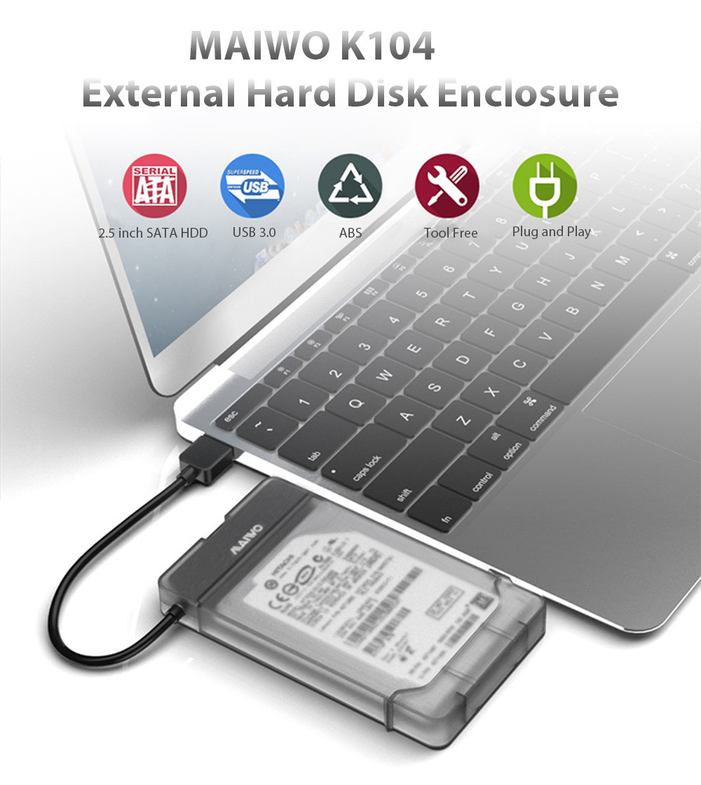Maiwo K104 2.5 inch USB 3.0 Hard Drive Enclosure Support SSD Free Tools SATA III