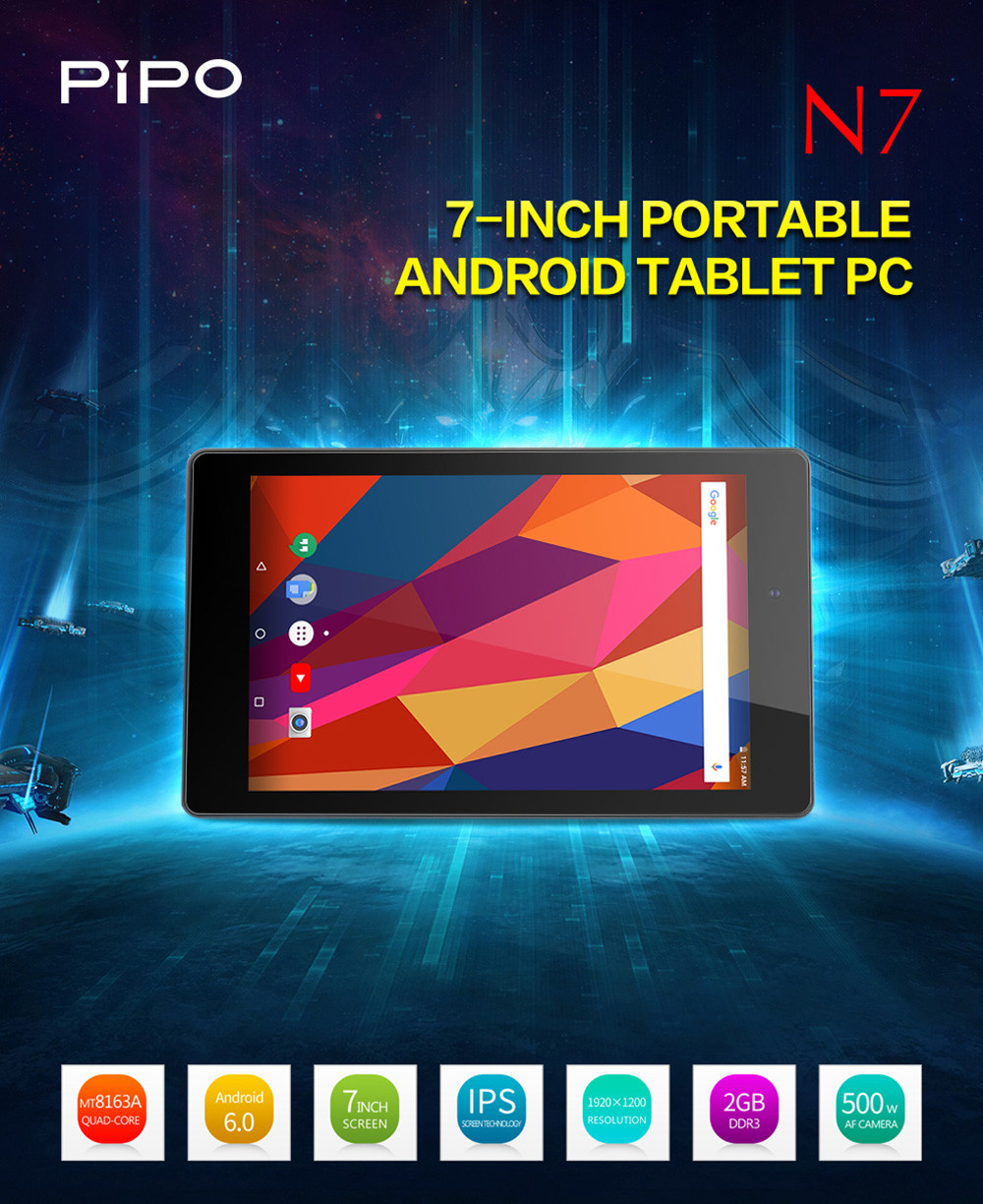Pipo N7 7.0 inch Tablet PC Android 6.0 MTK8163 Quad Core 1.5GHz 2GB RAM 32GB ROM HDMI